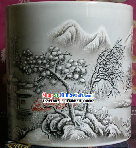 Chinese Large Jingde Town Ceramics Landscape Snow Scape Brush Pot