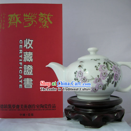 Chinese Jingde Town Ceramics Teapot-Purple Flower