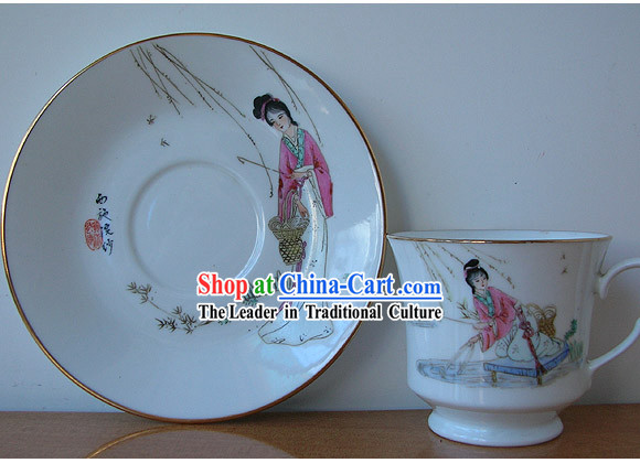Chinese Old Jingde Town Ceramics Tea Set-Lin Daiyu
