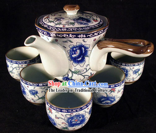 Chinese Jingde Town Celadon Peony Veins Tea Set(9 pieces)