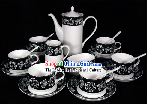 Chinese Jingde Jade Porcelain Black Rose Coffee Set