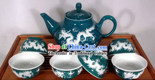 Chinese Jingde Basso Relievo Porcelain Double Draongs Playing Ball Tea Set