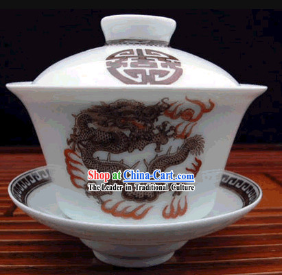 China Jingde Porcelain Masterwork-Dragon King Tea Bowl
