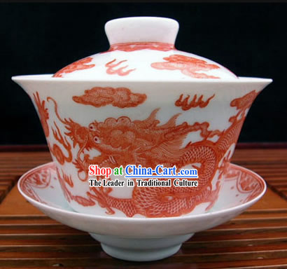 China Jingde Porcelain Masterwork-Dragon Legend Tea Bowl