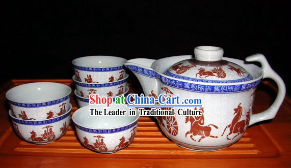 China Jingde Porcelain Hand Painted War Carriage Kungfu Tea Set
