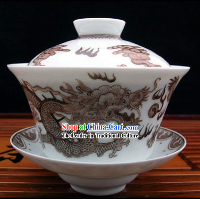 China Jingde Porcelain Masterwork-Dragon Charm Tea Bowl