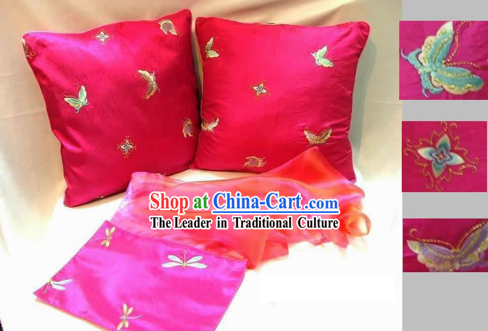 Chinese Hand Embroidery Butterfly Cushion and Table Runner Set