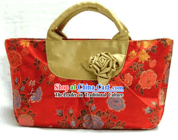 Chinese Silk Brocade Rose Carrying Bag