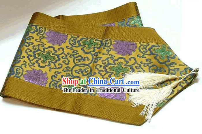 Chinese Traditional Silk Lotus Table Runner