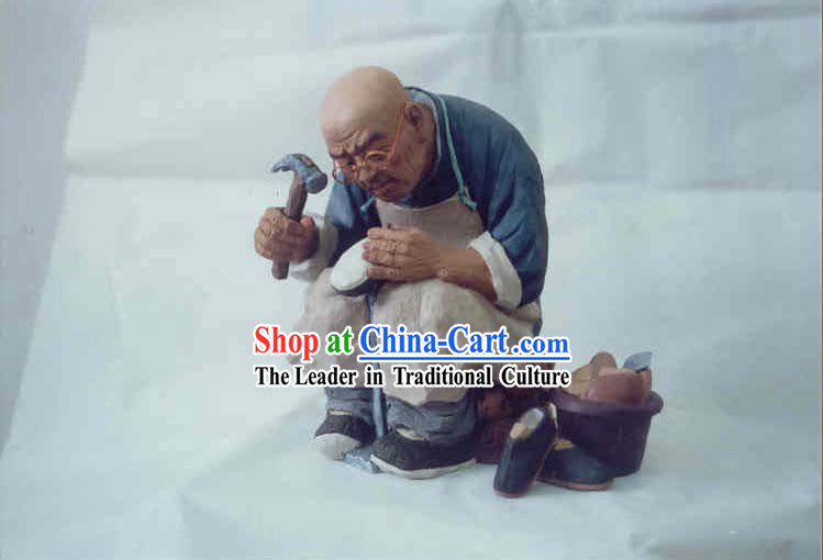 Chinese Hand Painted Sculpture Art of Clay Figurine Zhang-Shoe Maker