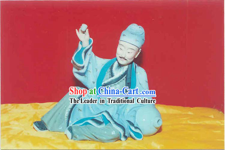 Chinese Hand Painted Sculpture Art of Clay Figurine Zhang-Poet Tai Bai Got Drunk