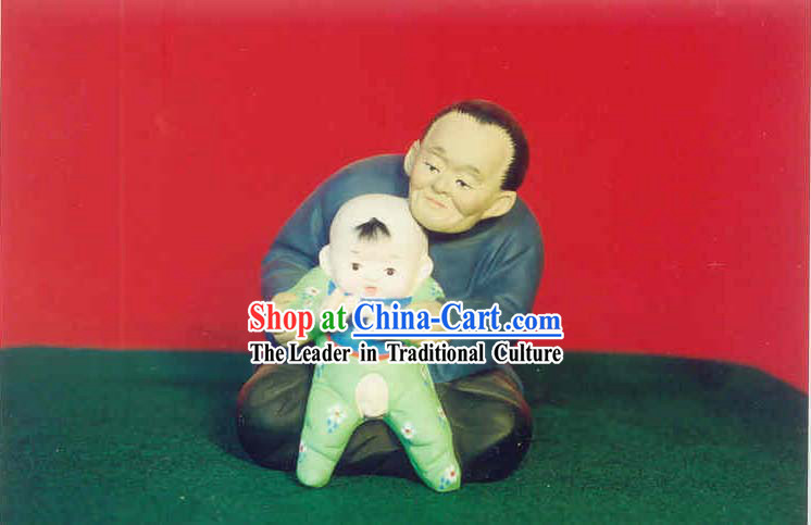 Chinese Hand Painted Sculpture Art of Clay Figurine Zhang-Grandmather Love