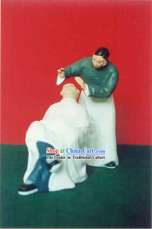 Chinese Hand Painted Sculpture Art of Clay Figurine Zhang-Hairdressing