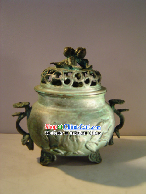 Chinese Classic Archaize Bronze Statue-Ancient Palace Longevity Peach Incense Burner