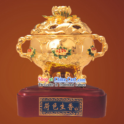 China Classic Gold Lotus Incense Burner