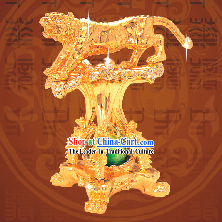 China Classic Gold Lotus Incense Burner-Crouching Tiger, Hidden Dragon