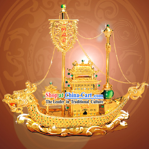 China Classic Large Gold Plain Sailing Dragon Boat