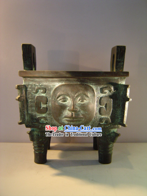 Chinese Classic Archaize Bronze Ware-Palace Man Face Shape Cooking Vessel