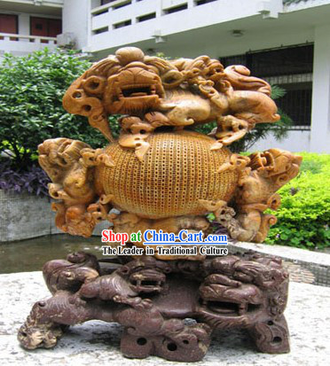 Chinese Stunning Hand Carved Craft-Seven Lions Playing Ball