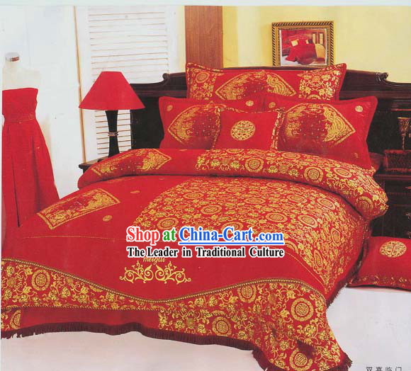 Chinese Classic Double Happiness Seven Pieces Bed Set
