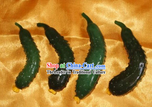 Chinese Classic Coloured Glaze Works-Cucumber(four pieces set)