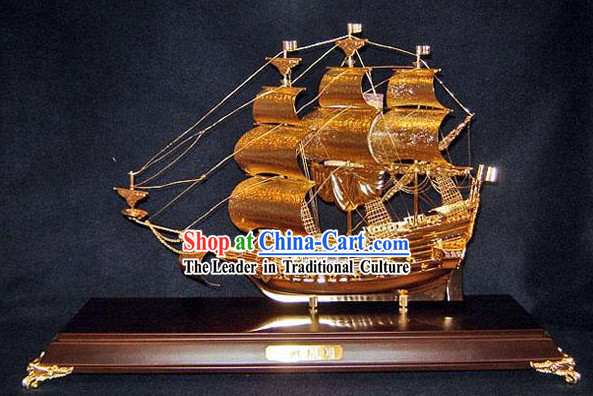 24K Gild Sailing Boat Business Affairs Gift