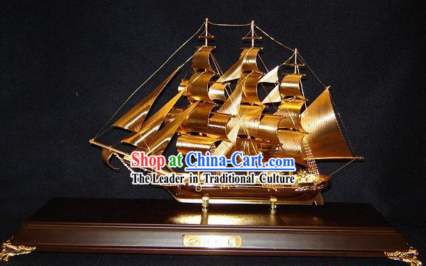 24K Gild Ancient Sailing Boat Business Affairs Gift