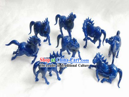 Chinese Classic Coloured Glaze Works-Eight Horses