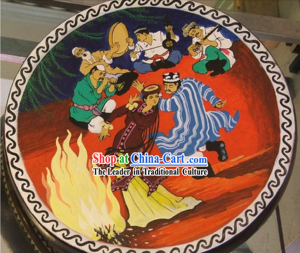 Chinese Classic Hand Painted Colorful Tambourine(Drum)