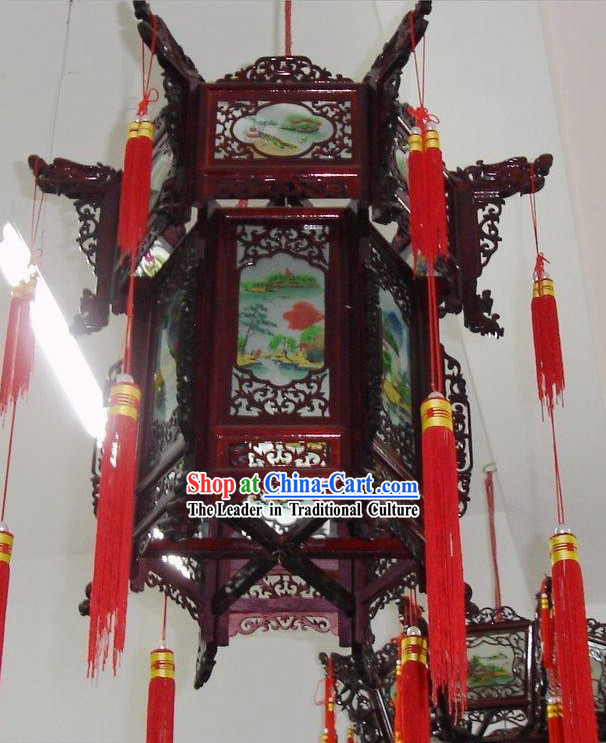 Chinese Hand Made and Painted Oil Painting Palace Lantern-Landscape
