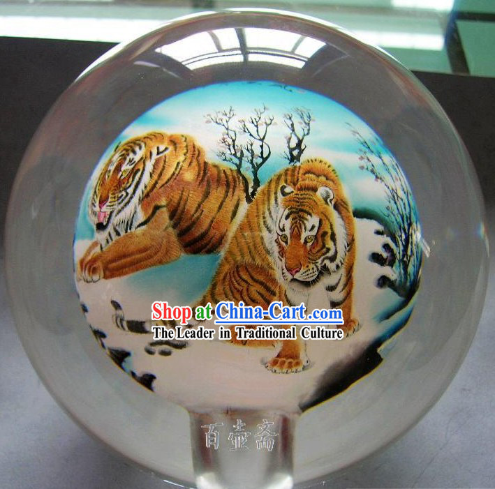 Chinese Snuff Bottle With Inside Painting-Tigers