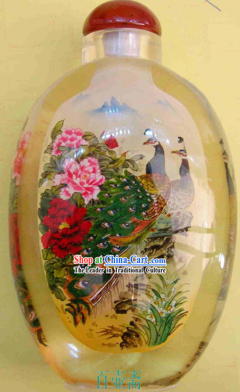 Chinese Classical Snuff Bottle With Inside Painting-Peacock Princess
