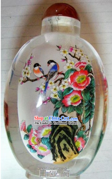 Chinese Classical Snuff Bottle With Inside Painting-Birds on Flowers