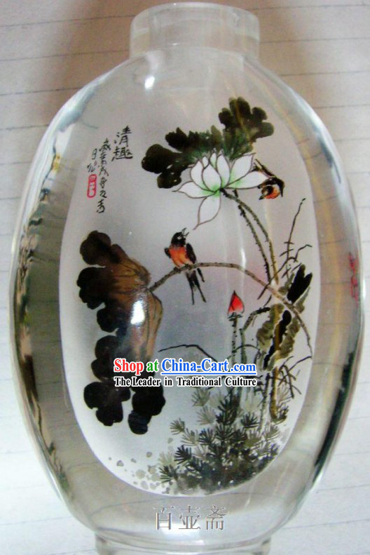 Chinese Classical Snuff Bottle With Inside Painting-Birds on Flowers 1