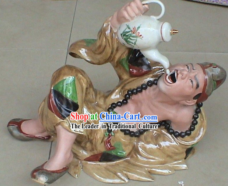 Chinese Stunning Ceramics Statue Collectible-Drunk Ji Gong