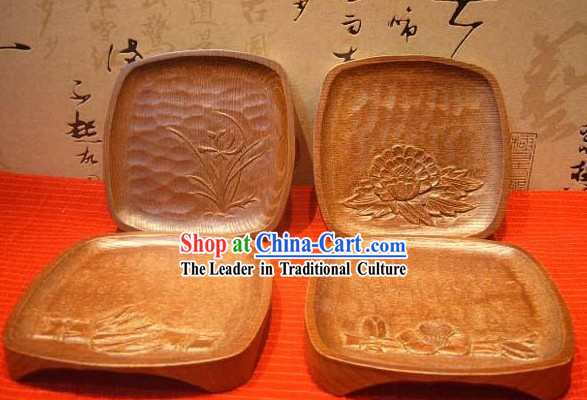 Chinese Hand Made Wooden Tablemat Set _4 Pieces_
