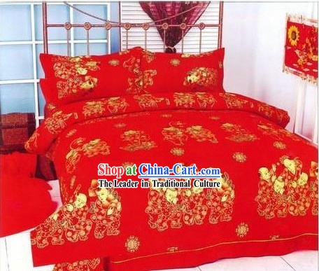 Chinese Classical Cotton Wedding Bed Sheet Set_Four Pieces_-More Children, More Happiness