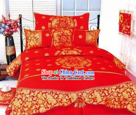 Chinese Traditional Cotton Wedding Bed Sheet Set_Four Pieces_-Dragon and Phoenix