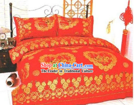 Chinese Classical Cotton Wedding Bed Sheet Set_Four Pieces_-Love