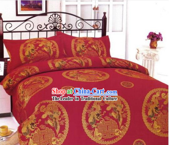 Chinese Classical Cotton Wedding Bed Sheet Set_Four Pieces_-Dragon and Phoenix