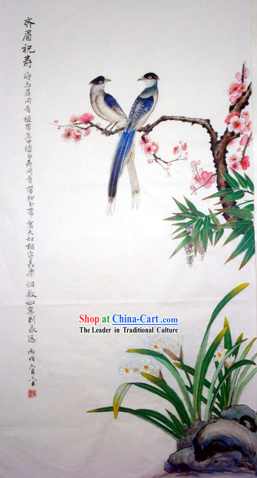 Chinese Traditional Painting with Meticulous Detail-Thrush