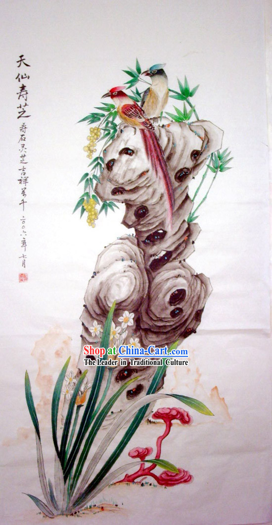 Chinese Traditional Painting with Meticulous Detail Painting-Longevity Sign