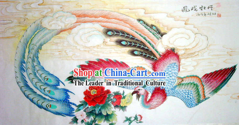 Chinese Traditional Painting with Meticulous Detail Painting-Prosperous Peony and Phoenix