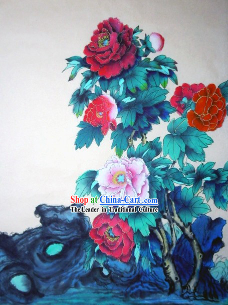 Chinese Traditional Painting with Meticulous Detail Painting-Peony Richness