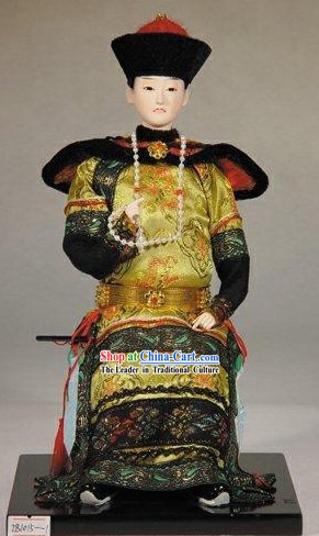 Handmade Peking Silk Figurine Doll - Chinese Emperor of Qing Dynasty
