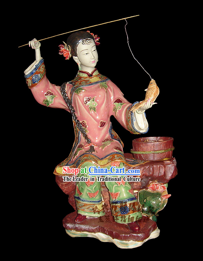 Chinese Stunning Porcelain Collectibles-Ancient Fishing Woman