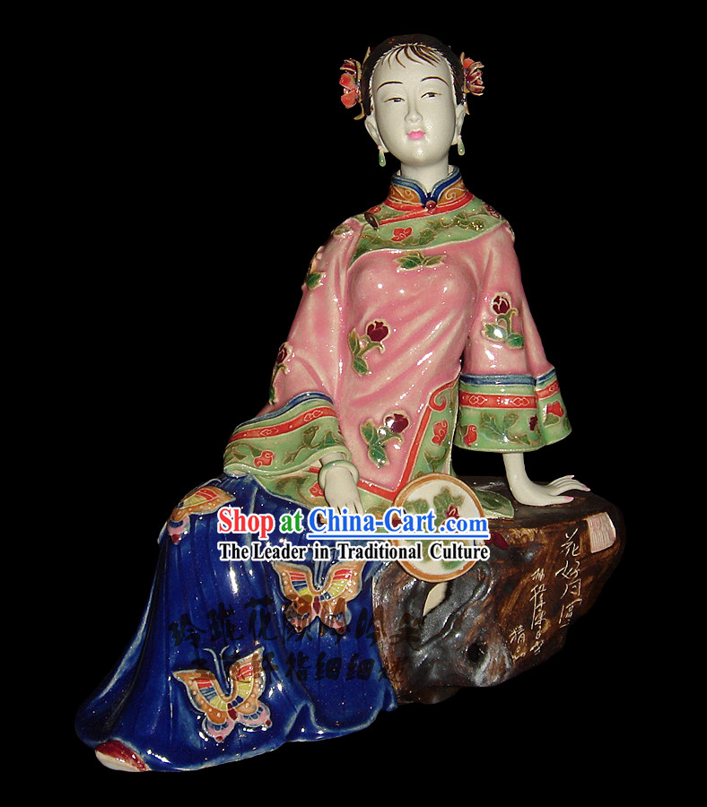 Chinese Stunning Colourful Porcelain Collectibles-Ancient Beauty With Fan
