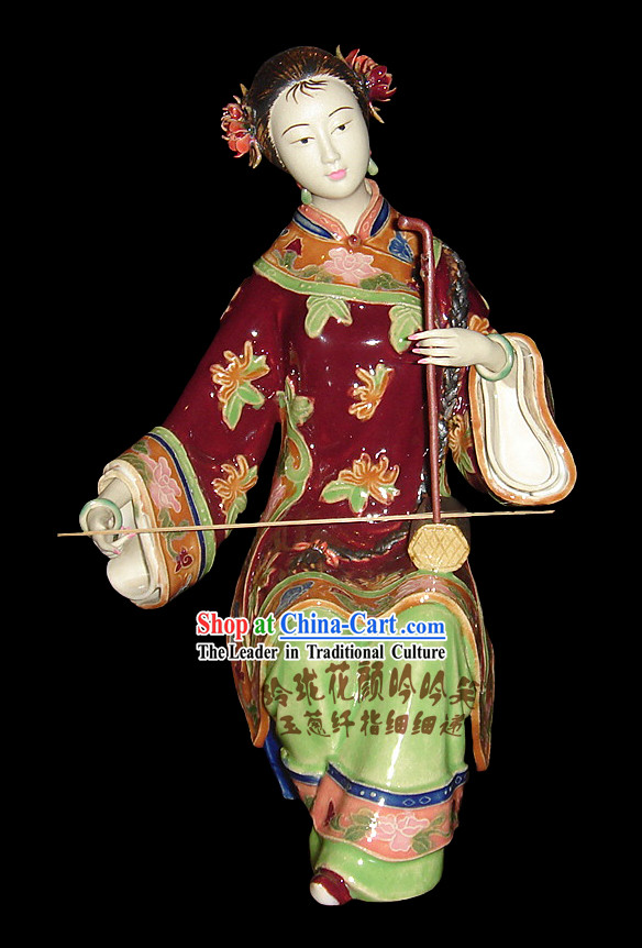 Chinese Stunning Colourful Porcelain Collectibles-Two-Stringed Chinese fiddle