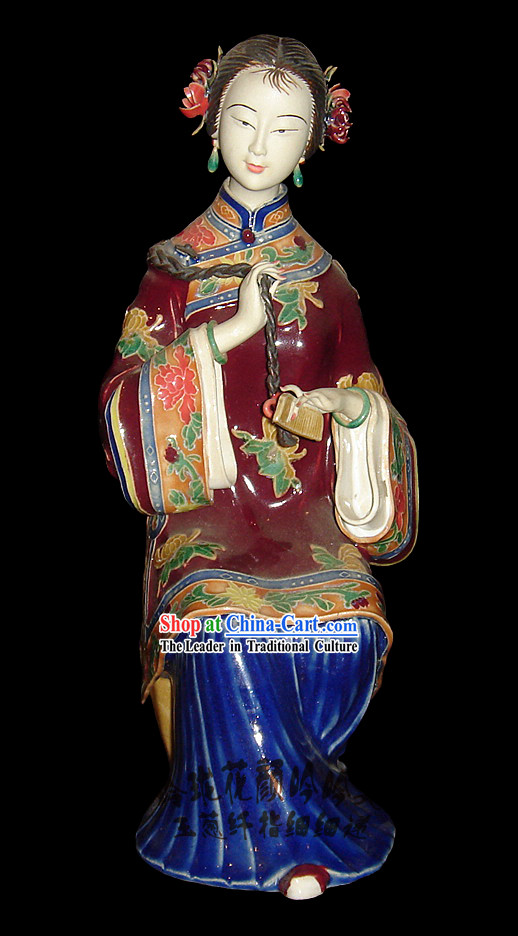 Chinese Stunning Colourful Porcelain Collectibles-Ancient Making Up Beauty