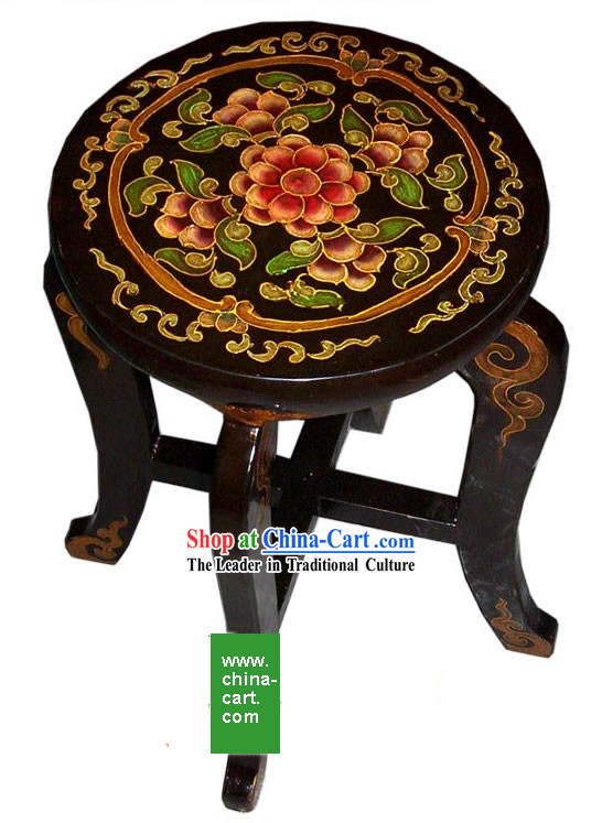 Chinese Antique Style Hand Painted Black Stool